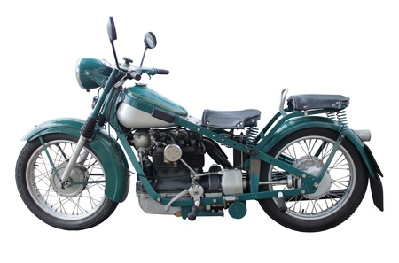 Old retro style motorcycle side view isolated on white background