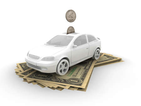 Car on dollar bills and coins