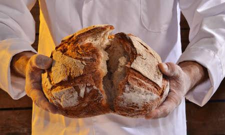 Photo pour Cook holding fresh bread. Baker holding a fresh bread taken out of the oven. - image libre de droit