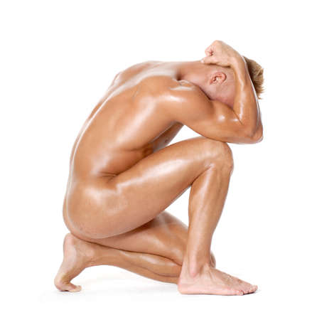 Photo for Sculpture strong nude man portrait. - Royalty Free Image