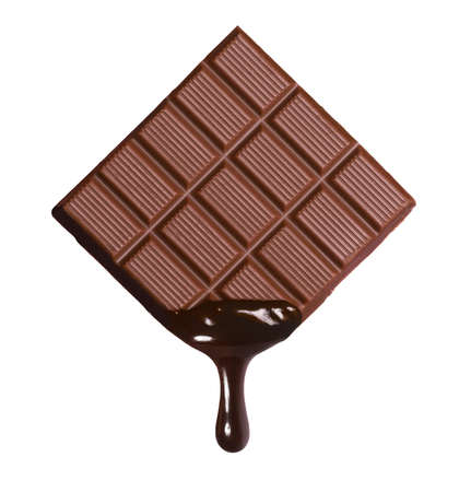 Photo pour Dark chocolate bar and melted brewing drop on white background. - image libre de droit