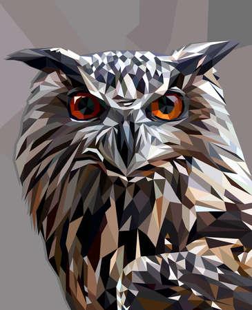 Ilustración de Owl in low poly style - Imagen libre de derechos