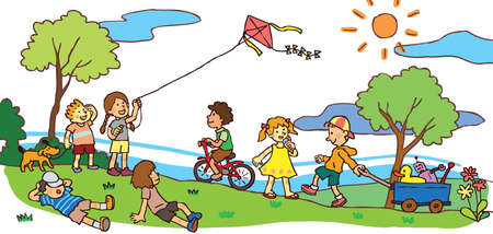 Children having a good time in sunny summer landscape