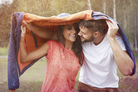 Photo for Romantic time in the rain - Royalty Free Image