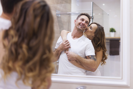 Photo for Happy couple in bathroom - Royalty Free Image