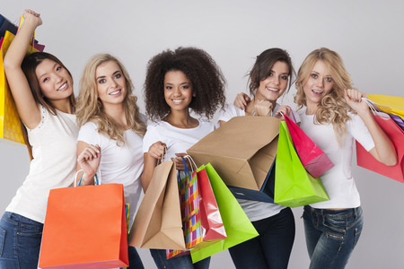 Photo pour Shopping is the best medicine for women - image libre de droit