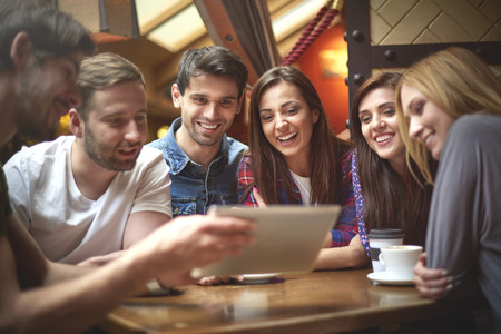 Photo for Group of friends in the coffee shop - Royalty Free Image