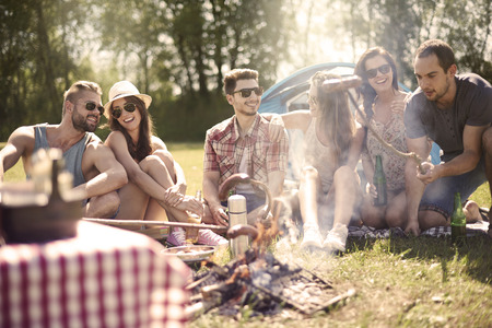 Photo for Campfire in the summer is a good idea - Royalty Free Image
