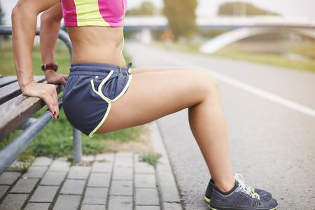 Foto de Few sit ups and different stretching exercises - Imagen libre de derechos