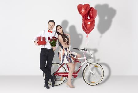Foto de Joyful couple against white background - Imagen libre de derechos