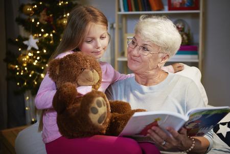 Foto de I love spending time with my grandmother and  teddy bear - Imagen libre de derechos