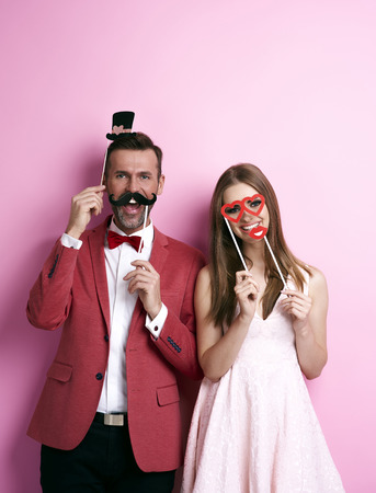 Photo for Couple with funny valentine's masks - Royalty Free Image