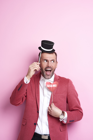 Photo for Exhilarated man with photo booth - Royalty Free Image