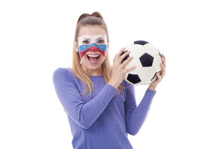 Foto de Russian soccer fan with soccer ball cheering - Imagen libre de derechos