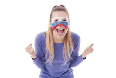 Foto de Ecstatic female soccer fan cheering  - Imagen libre de derechos
