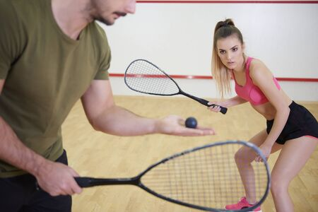 Photo for Squash players are in training for squash game  - Royalty Free Image