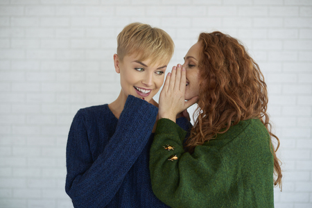 Photo for Girl whispering a secret to her friend - Royalty Free Image