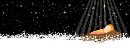 Ilustración de Christmas background with baby jesus and snowflakes cover - Imagen libre de derechos