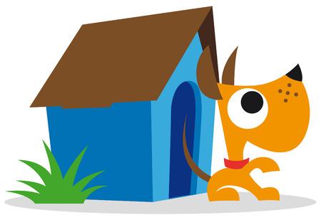 Orange dog and blue dog house