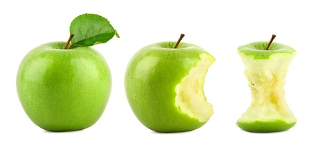 Photo for row of green granny smith apples on white background - Royalty Free Image
