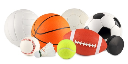 a set of different sport equipment and balls