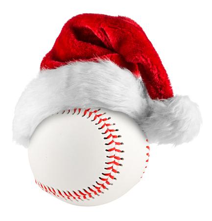 santa hat on baseball on white background