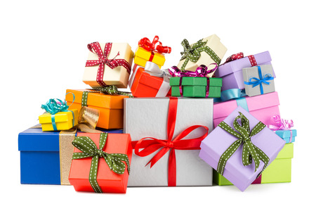Photo for stack of colorful gift boxes - Royalty Free Image