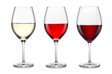 Foto de row of three wine glasses - Imagen libre de derechos