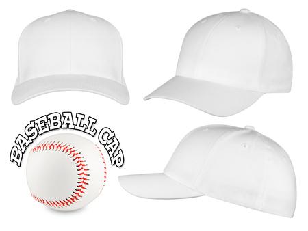 Photo for Set of white baseball caps with baseball - Royalty Free Image