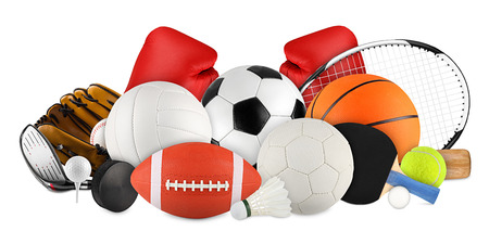 Photo pour sports equipment on white background - image libre de droit