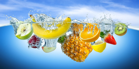 Photo for many fruits splashes into water - Royalty Free Image