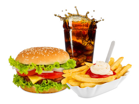 Photo for Fast food meal on white background - Royalty Free Image