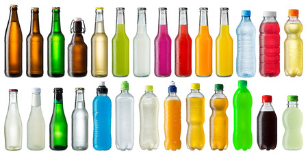 Foto de collection of various cold beverage bottles - Imagen libre de derechos