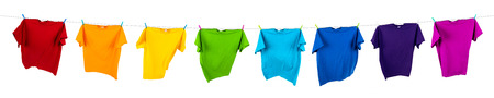 Photo for rainbow shirts on washing line - Royalty Free Image