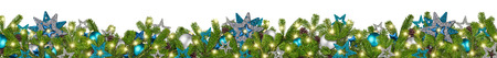 Foto de christmas garland super wide panorama banner with fir branches blue petrol turquoise  silver stars and baubles xmas decoration isolated on white background - Imagen libre de derechos