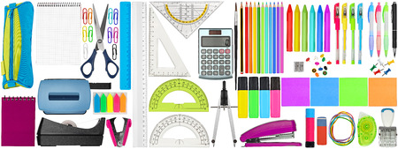 Photo pour huge set collection of colorful school office supplies stationery isolated on white background study education business concept - image libre de droit
