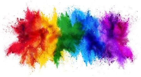 Foto de colorful rainbow holi paint color powder explosion isolated on white wide panorama background - Imagen libre de derechos