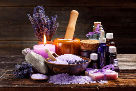 Photo for Lavender bath items on wooden background - Royalty Free Image