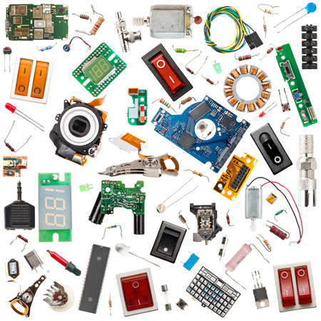 Photo pour Collection of electronic components isolated in white - image libre de droit