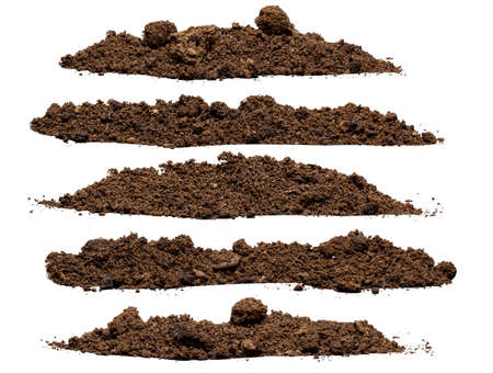 Photo for Set pile of soil isolated on white background - Royalty Free Image