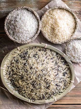 Assortment of rice in wicker basket and plate