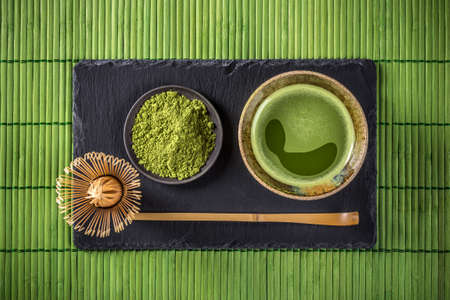 Photo for Japanese tea ceremony setting, Matcha green tea - Royalty Free Image