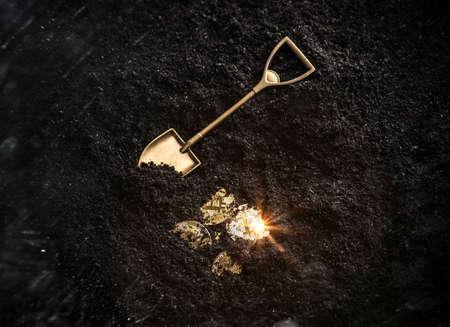 Foto de Bitcoin gold coins and shovel gardening tool. Virtual cryptocurrency mining concept. - Imagen libre de derechos