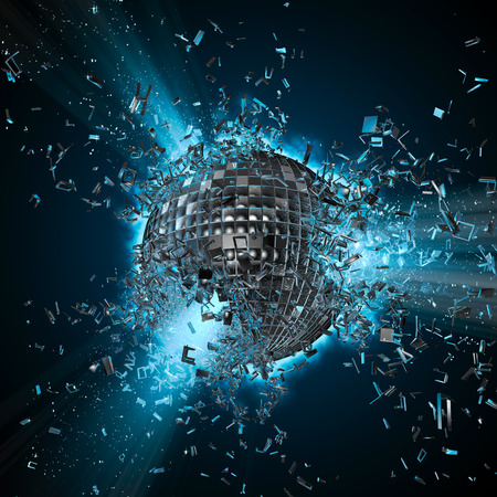 Photo pour Disco planet explosion,  3D render of exploding disco ball - image libre de droit