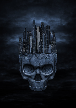 Photo pour Dark city,  3D render of night time modern city perched on top of stone skull in night sky - image libre de droit