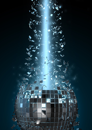 Photo for Disco explosion, 3D render of disco ball shattered by beam of light - Royalty Free Image