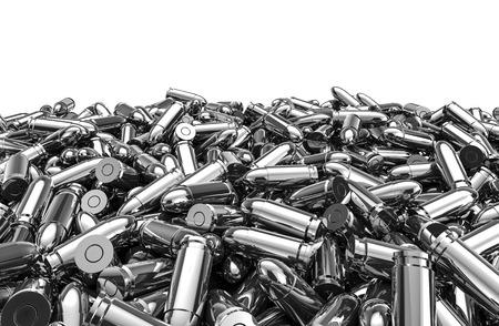 Foto de Silver bullets pile, 3D render of 9 mm bullets - Imagen libre de derechos