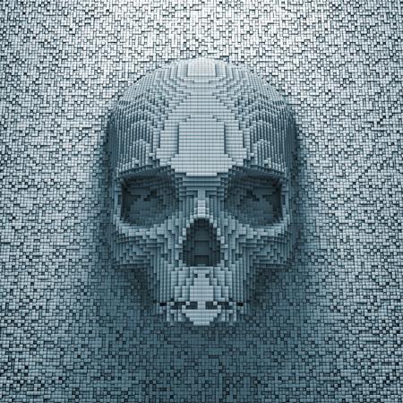 Photo pour Pixel skull  3D render of pixelated skull - image libre de droit