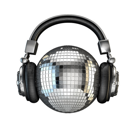 Photo for Headphone disco ball, 3D render of disco ball with headphones - Royalty Free Image