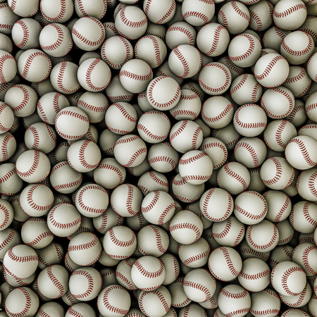 Baseballs background  3D render of baseballs filling image